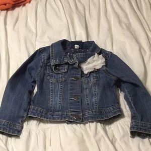 Denim Jean jacket with sewn on flower